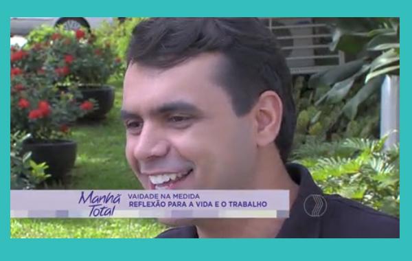 O blogueiro Bruno Figueredo fala sobre vaidade masculina no programa Manhã Total da TV Paranaíba afiliada Record